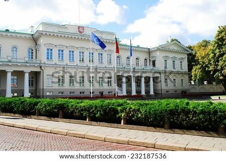 VILNIUS, LITHUANIA - SEPTEMBER 24: Lithuanian president residence on September 24, 2014, Vilnius, Lithuania. - stock photo