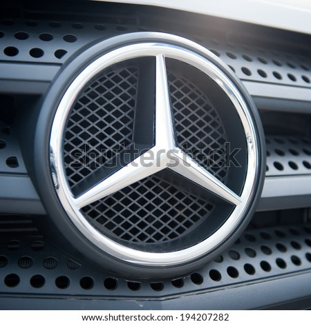 VILNIUS-MAY 9: Mercedes Benz Sign Close-Up on May 9, 2014 in Vilnius, Lithuania. Mercedes-Benz is a German automobile manufacturer. The brand is used for luxury automobiles, buses, coaches, and trucks