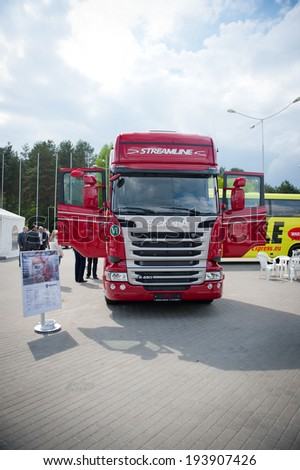 VILNIUS-MAY 9: Scania R450  Topline EURO 6 Truck on May 9, 2014 in Vilnius, Lithuania. Scania is a major Swedish automotive manufacturer of commercial vehicles - specifically heavy trucks and buses. - stock photo
