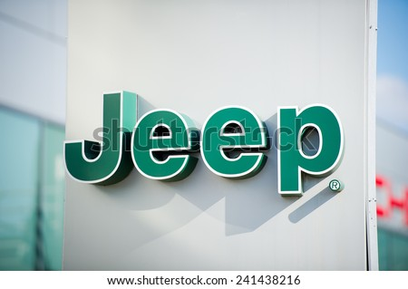 VILNIUS - OCT 2: Jeep dealership logo on Oct. 2, 2014 in Vilnius, Lithuania. Jeep is a brand of American automobiles that is a division of FCA US LLC, owned subsidiary of Fiat Chrysler Automobiles. - stock photo