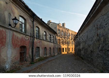 Vilnius ol town street (Sv. Dvasios), Lithuania - stock photo