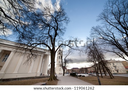 Vilnius, Wilno, Litwa, Lithuania, Lithuanian, square, cathedral, tower, center, central, autumn, trees, branches, - stock photo