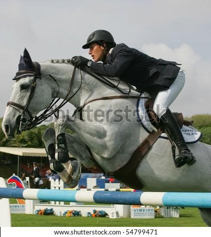 VIMEIRO, PORTUGAL - JUNE 5: Equestrian International Show Jumping 3* - Pedro Veniss (BRA) June 5, 2010 in Vimeiro, Portugal - stock photo