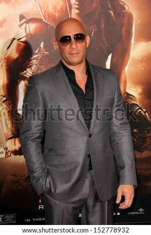 """Vin Diesel at the """"Riddick"""" Los Angeles Premiere, Village Theater, Westwood, CA 08-29-13 - stock photo"""