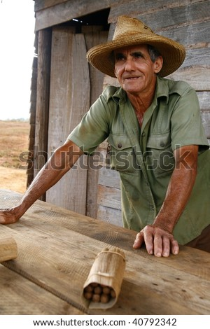 VINALES, CUBA - MARCH 20: Tobacco farmer on March 20, 2009 in Vinales, Cuba. Most Cubans in rural areas are poor and often employ themselves by growing low-grade tobacco for local sales - stock photo