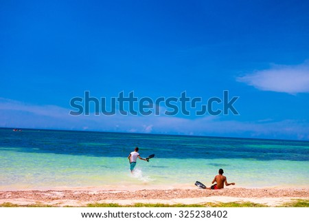 VINALES, CUBA - SEPTEMBER 12, 2015: Cayo Jutias beach in the northern seaside of Cuba.