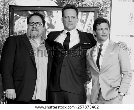 Vince Vaughn (with Jon Favreau and James Marsden) Places Handprints-Footprints In Cement At TCL Chinese Theatre in Hollywood on March 4, 2015.  - stock photo