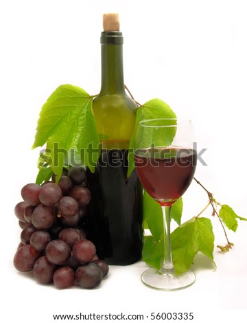 Vine composition isolated on white - stock photo