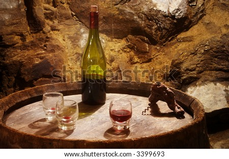 Vine tasting in a old vineyard cave - stock photo