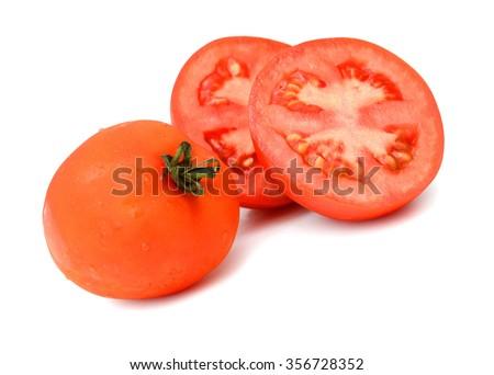 vine tomato on white background - stock photo