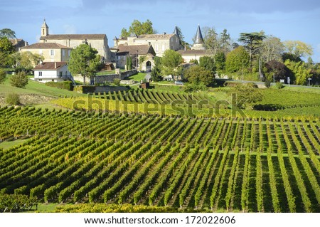 Vineyards of Saint Emilion, Bordeaux Vineyards - stock photo