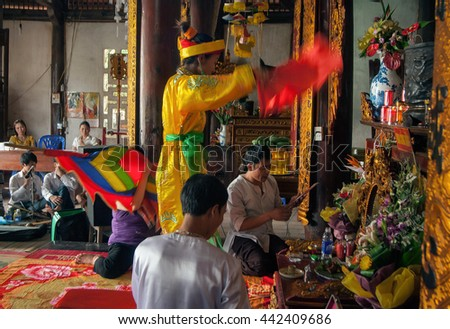 Vinh Phuc, Vietnam, January 23, 2016 group of people, countryside Vinh Phuc, dance, folk songs, in the ancient temple. This is, folk, called (shareholders). intangible heritage of humanity