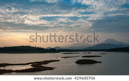 Vinh Phuc, Vietnam, May 23, 2016 lakes, at the dawn, mountains Dai Lai, Vinh Phuc Province, Vietnam
