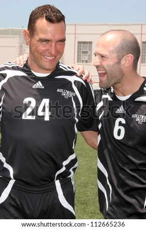Vinnie Jones and Jason Statham at the Soccer for Survivors Celebrity Showcase Match. Beverly Hills High School, Beverly Hills, CA. 07-22-07 - stock photo