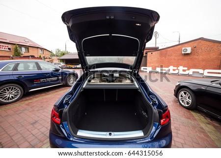 Vinnitsa, Ukraine - May 14, 2017. Audi A5 Sportback car.Front of the car, logo Audi,diesel,quattro system, sportcar, luxury car,sport sedan, modern car. Presentation- Audi A5 Sportback