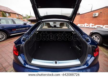 Vinnitsa, Ukraine - May 14, 2017. Audi A5 Sportback car.Front of the car, logo Audi,diesel,TFSI engine, quattro system, sportcar, luxury car,sport sedan, modern car. Presentation Audi A5 Sportback