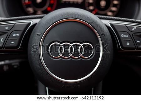 Vinnitsa, Ukraine - May 14, 2017. Audi Q2 concept car.Audi Q2 presentation.Front of the car,front-side, logo Audi,diesel, TFSI motor, showroom, modern car. Presentation Audi Q2. light car, mirror