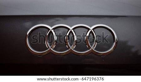 Vinnitsa, Ukraine - May 14, 2017. Audi Q2 concept car.Audi Q2 presentation.Front of the car,front-side, logo Audi,diesel, TFSI motor, showroom, modern car. Presentation - Audi Q2. light car, mirror