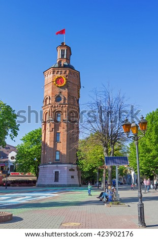 VINNYTSIA UKRAINE - MAY 1, 2016: Famous water tower in Vinnytsia, Ukraine