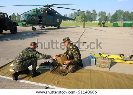 VINNYTSYA, UKRAINE - JUNE 10: Military mobile hospital during a medical military trainings on June 10, 2008 in Vinnytsya, Ukraine - stock photo