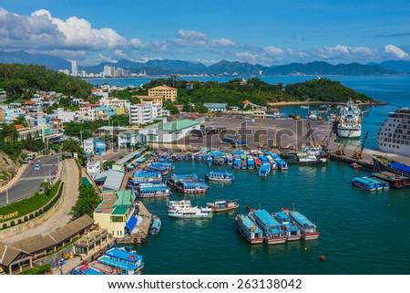 VINPEARL RESORT, NHA TRANG, VIETNAM - NOV 24, 2014.  Viewed from Vinpearl's Cable Car on a nice day. - stock photo