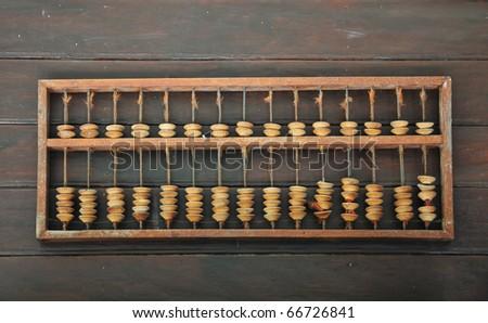 Vintage Abacus Place On Wood Background - stock photo