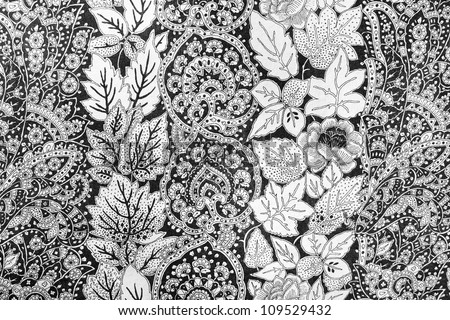 vintage abstract flowers textiles fabric, retro background - stock photo