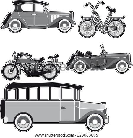 Vintage abstract modes of transport on a white background. Raster version - stock photo