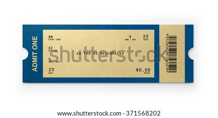 Vintage admission ticket, Isolated on white background. Clipping path is included. - stock photo