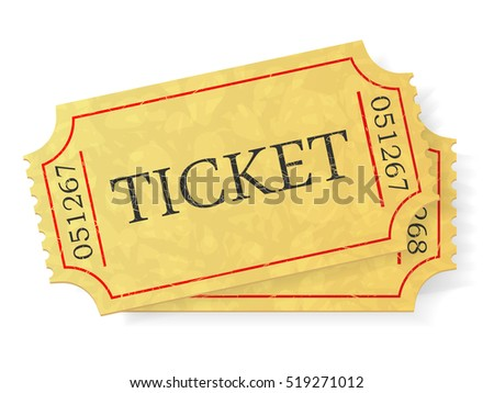Vintage admit one ticket isolated on white background. Illustration.