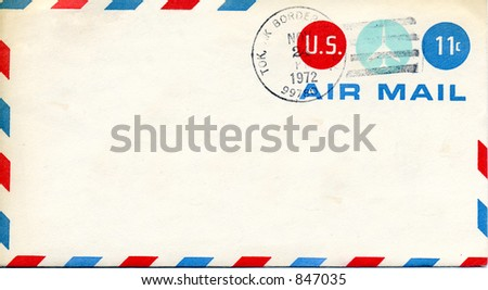 Vintage Air Mail Envelope from 1972 with Alaska cancellation - stock photo