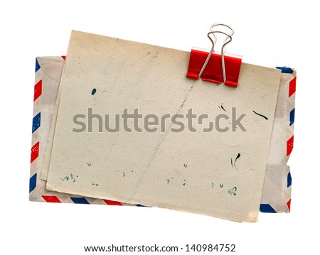 vintage air mail envelope. retro post letter. grungy paper background - stock photo