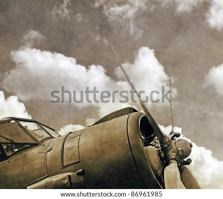 Vintage aircraft, old biplane close up - stock photo