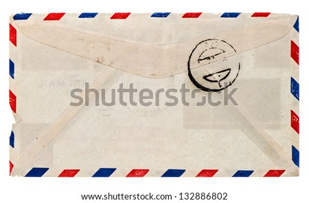 vintage airmail envelope. retro post letter. grungy paper background - stock photo