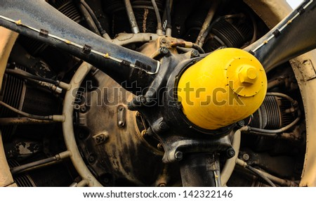 Vintage airplane engine - stock photo