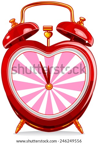 Vintage alarm clock in heart shape - stock photo