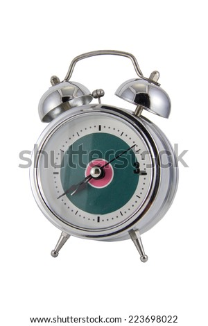 vintage alarm clock isolated on white clipping path - stock photo
