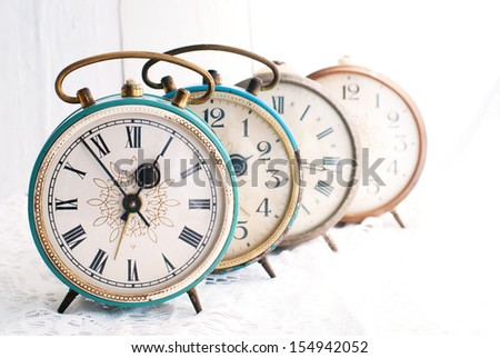 Vintage alarm clock. Time concept.  - stock photo