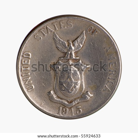 Vintage American Era Philippine Silver Coin - stock photo