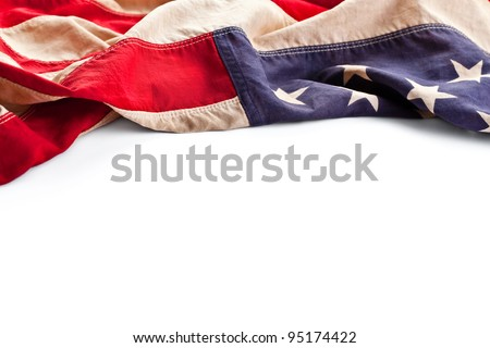 Vintage American flag border isolated on white - stock photo