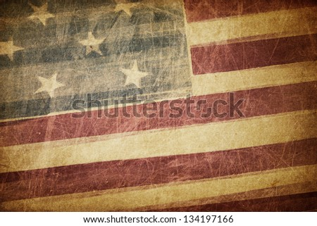 Vintage american flag grunge background - stock photo