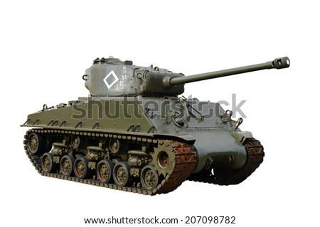 Vintage american WW2 tank illustration isolated - stock photo