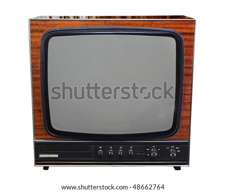 Vintage analog black and white TV isolated with clipping path - stock photo