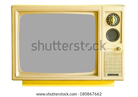 Vintage analog television isolated on white background, clipping path. - stock photo