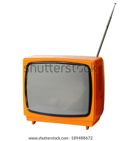 Vintage analog television isolated over white background, clipping path. - stock photo