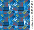 Vintage analogue audio cassette seamless pattern. - stock photo