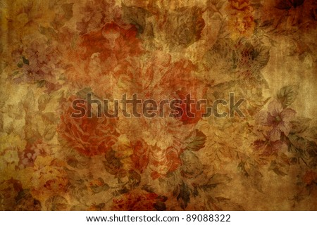 Vintage and aged floral wallpaper background - stock photo