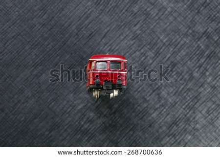 Vintage and classic miniature plastic model railcar represent the model railway and model making related idea concept.   - stock photo
