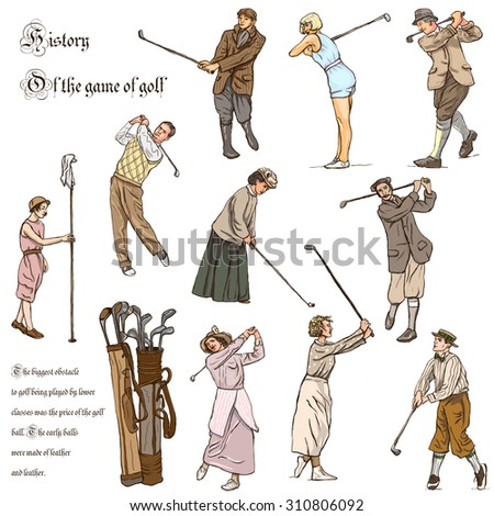 VINTAGE and Retro GOLF, Golfers, Golf impact positions and Golf Equipment. Collection of an hand drawn full sized illustrations (freehand, originals). Drawings on white background. - stock photo
