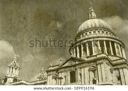 Vintage Antigue Picture of St. Paul's Cathedral in London. - stock photo